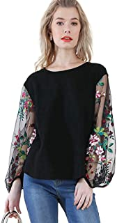 Umgee Women's Floral Embroidered Sheer Puff Sleeve Top