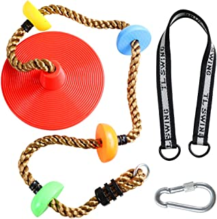ZNCMRR Climbing Rope Tree Swing with Platforms and Disc Swing Seat Set Outdoor Playground Accessories for Kids Including Hanging Strap & Carabiner