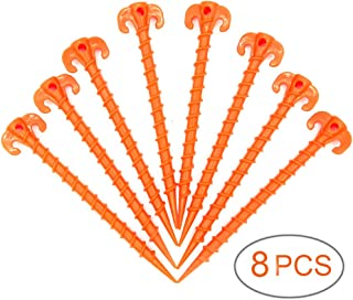 SL-Fashion Tent Stakes Screw Type, Sand Tent Pegs, Plastic Camping Stakes, Screw Ground Anchors, 8PCS 10 inch