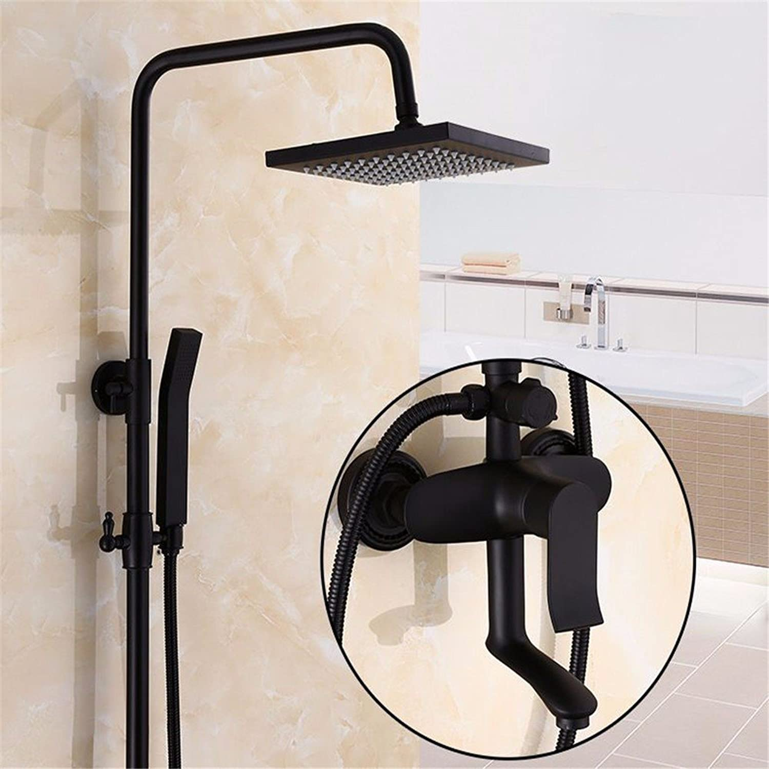 European-style black shower faucet supercharged bathroom full copper wall-mounted shower set, I
