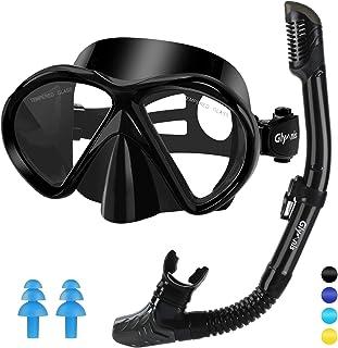 Gafas de Buceo Gafas Snorkel Seco Completo Kit de Snorkel Máscara de Buceo y Snorkel Seco Set Máscara Set de Snorkel Profesional para Adultos y Jóvenes Hombre y Mujer