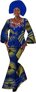 Womens African 3 Piece Mermaid Skirt Set Embroidered Patch Ankara Maxi Skirt Set