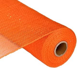 Orange with Orange Foil 10 Inch x 30 feet Deco Poly Mesh Ribbon : RE130120