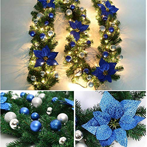HoitoDeals 9ft LED Christmas Garland For Xmas Tree Decorations Pre-Lit Fireplace Pine Ribbon
