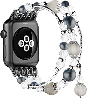 Simpeak Band Compatible with Apple Watch 38mm 40mm, Fixed Size 5.7-6.9,Handmade Beaded Elastic Bracelet Replacement for Apple Watch 5/4/3/2, Black