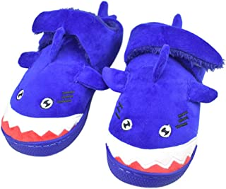 Tirzro Boys Little/Big Kids Warm Plush Shark Slippers with Memory Foam Sole Cute Animal Indoor Outdoor Slip-on Shoes