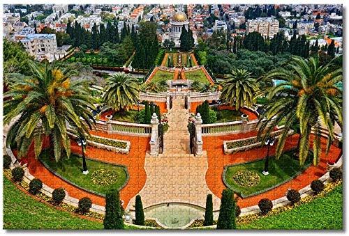 LIUWW Adultos Puzzle 1000 Piezas DIY Clásico Rompecabezas de Madera para Niños Educativo Puzzles descompresión de Interesantes Juguete-Jardines Bahai, Israel