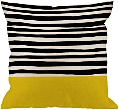 HGOD DESIGNS Stripes Decorative Throw Pillow Cover,Sunshine Stripes Cotton Linen Outdoor Pillow Cases Square Standard Cushion Covers for Sofa Couch Bed 18x18 inch Black Yellow
