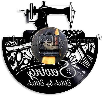 FDGFDG Máquina de Coser Stitch by Stitch Vinyl Record Reloj de ...