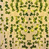 Hiedra Artificial, 10M Guirnalda Vines con 100 Luces LED, Planta Hojas de Vid Colgante, Enredadera Hojas Verdes para Jardín, Patio, Escalera, Interior y Exterior Decoración