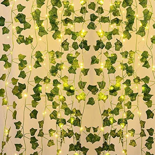 10M Cadena de Luces LED para Plantas Hiedra Artificial, 100 Luces LED de Hada de Hiedra, Guirnalda de Luces de Hojas Verdes para Jardín, Patio, Boda, Fiesta, Interiores Decoración