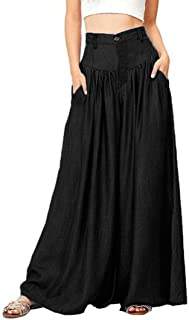 2018 Pleated Culottes,Women Soft Pantalon Wide Legs Long Casual High Waist Trousers Plus Size by-NEWONSUN