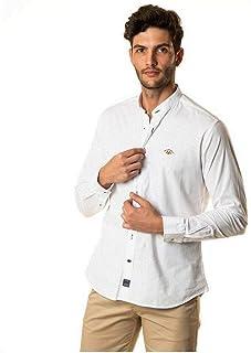 SPAGNOLO PAUL & ESTHER Camisa Cuello Mao Lino Liso 1600: Amazon.es: Ropa y accesorios