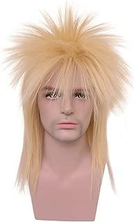 Yilys 80s Heavy Metal Mullet Wig Long Staright Blonde Halloween Rocker style wig For Men Women