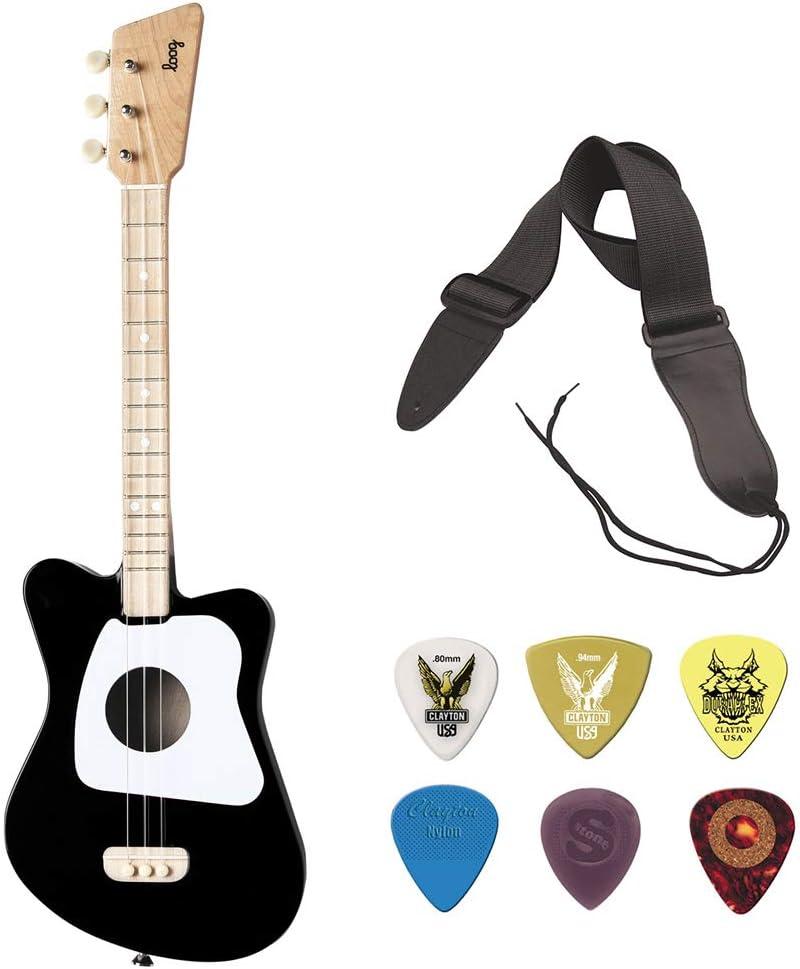 LOOG Mini Guitar for Children Black Max 40% OFF Strap Sale special price with GSA10BK
