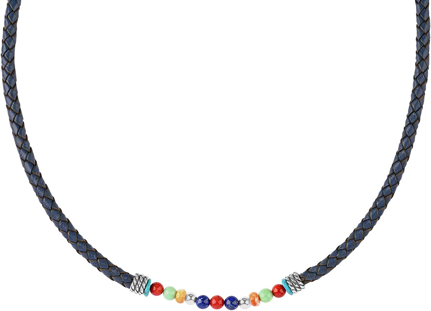 American outlet West Sterling Multi Gemstone Necklace 1 Braided Leather Ultra-Cheap Deals
