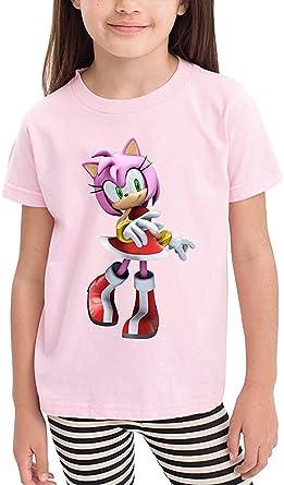 BBBBA Niños Niños Niñas Sonic Hedgehog Amy Rose Estilo Casual Niños Niños Niñas Camiseta