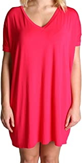 Women's V-Neck Short Sleeve Tunic-fuchsia-small