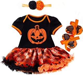 Toddler Baby Girls Romper Dress Set, Toddler Kids Halloween Pumpkin Printed Jumpsuit Dress Hairband Shoes Set