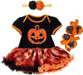 TMOTYE Kinder Langarm Kinder Kurzarm Halloween Kürbis Brief drucken Kleid Rock Strampler Nähen Pettiskirt Schaukel  Schuhe  Haarband Mädchen Kleid für Halloween
