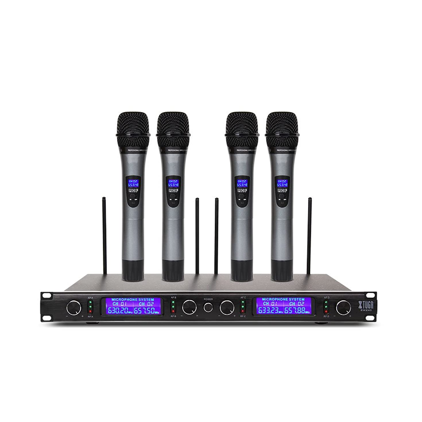 Xtuga UHF 4 Channel Wireless Handheld Microphone System UHF Wireless Microphone System metal receiver with 4 Handheld for Stage Church Use for Family Party, Church, Small Karaoke Night
