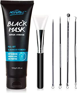 Black Mask-Blackhead Removal Mask Peel Off Facial Black Mask 3.5oz(100G) Pore Control, Skin Cleansing, Purifying Bamboo Charcoal With Blackhead Remover Extractor Tools Kit & Mask Brush (BlackMask)