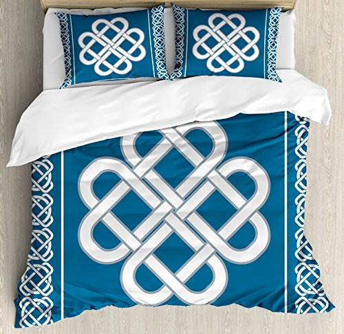 Ambesonne Irish Duvet Cover Set, Celtic Love Knot Good Fortune Symbol Framework Border Design, Decorative 3 Piece Bedding Set with 2 Pillow Shams, King Size, Aqua White