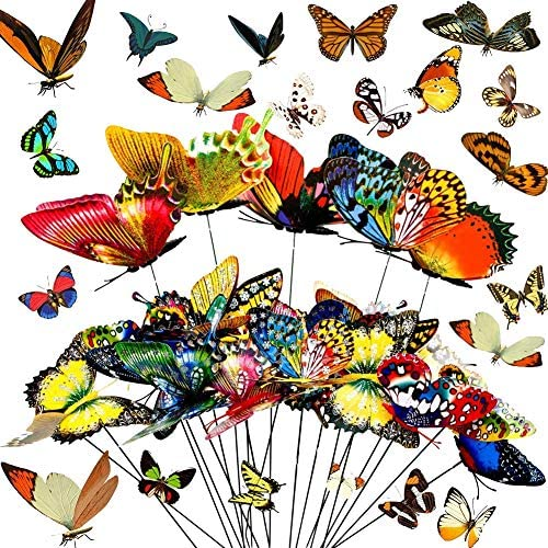 60 PCS Butterfly Stakes and Dragonfly Stakes Garden Ornaments Stakes 11 75 inches Waterproof product image