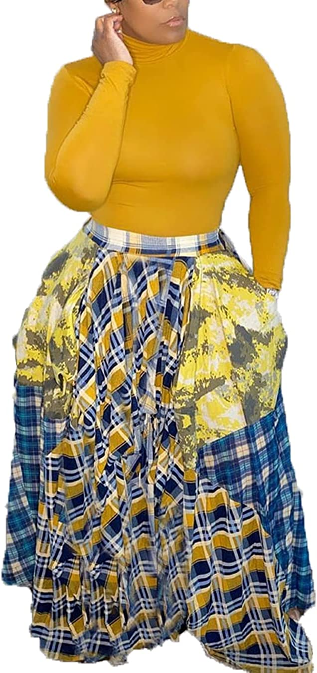 Women Plaid Skirts High Waist Oversize Color Block Patchwork Baggy Skirts Plus Size