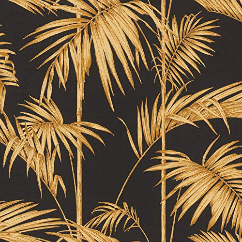 Carta da parati tnt (tessuto non tessuto) tropicale giungla jungle 369195 36919-5 Livingwalls Metropolitan Stories   Argento/Arancione/Terracotta/Nero/Antracite   Rotolo (10,05 x 0,53 m) = 5,33 m²