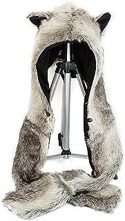 ShellKingdom 3 in 1 Function Brown Wolf Faux Fur Full Animal Hood Hat Winter Warmer Cap New