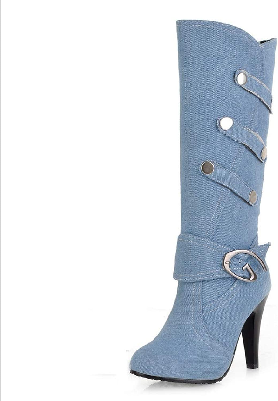 Womens Ladies Biker Calf Boot High Heel Winter Zip Calf Knee Denim shoes Boots Cowboy Heeled Slouchy Boots Size