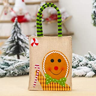 FimGGe Decoración navideña Nuevo Parche de muñeca de Dibujos Animados creativos Bolsa de Asas de arpillera Bordada Bolsa de Dulces, Bolso de Mano Bordado de arpillera de Biscuit Man