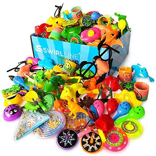 S SWIRLLINE Party Favors Kids Pinata Filler- 122 PCS Carnival Prizes Toys Bulk Assortment - Boys Girls Birthday Easter Egg Filler - Treasure Box Chest Classroom