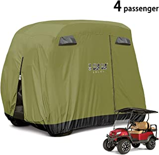 10L0L 4 Passenger Golf Cart Cover Fits EZGO, Club Car and Yamaha, 400D Waterproof with Extra PVC Coating Sunproof Dustproof - Two Side Zippers (Both Driver and Passenger Side) - Black