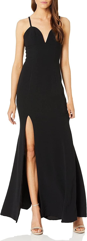 Dress the Population Women's Alejandra Sleeveless Long Stretch Gown with Slit, Black, XL