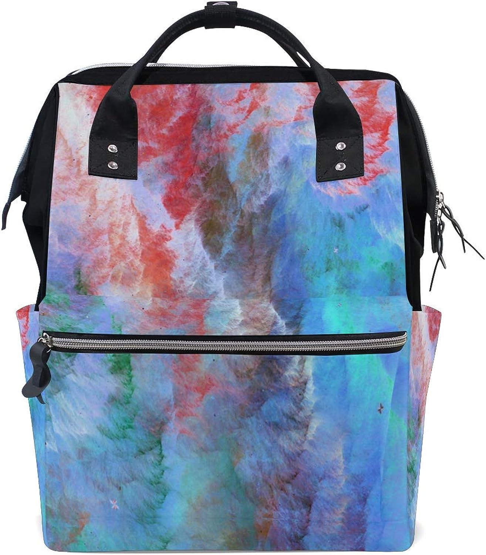 8d33d004d720 FANTAZIO Backpacks Abstract color School Canvas Daypack Wave Bag ...