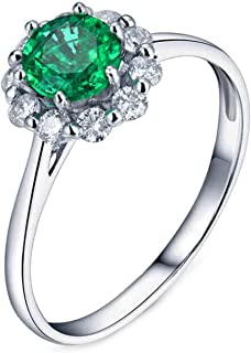 ButiRest - Anello da donna in oro bianco 750 18 carati con sei artigli, taglio brillante 0,5 carati verde smeraldo VS e di...