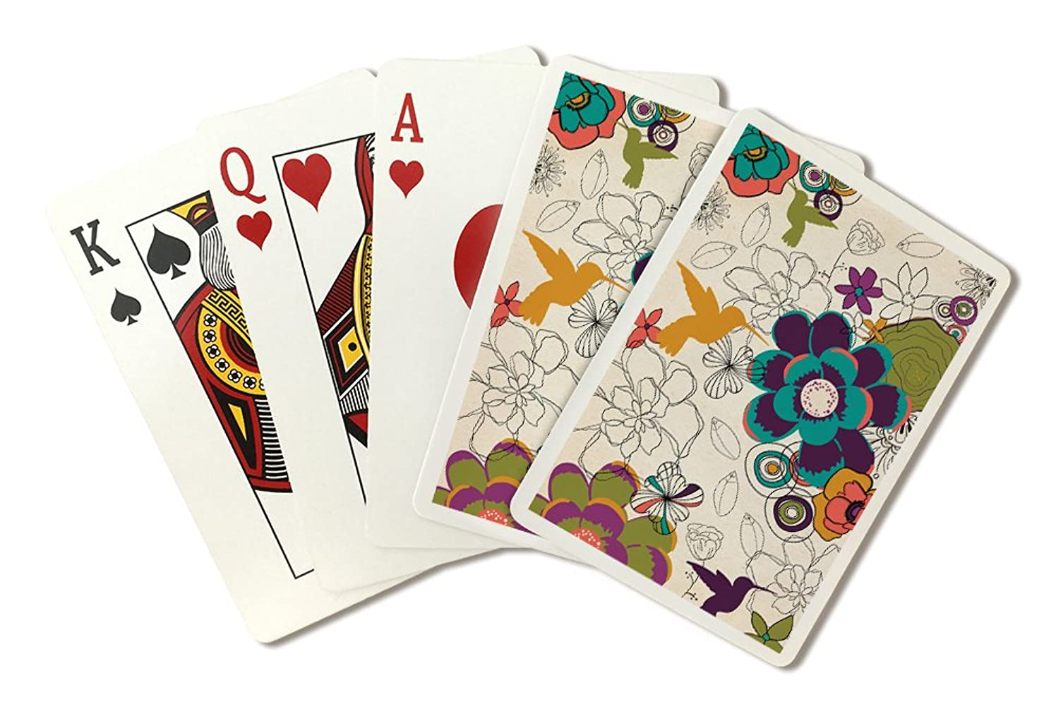 Hummingbirds and Flowers Pattern (Playing Card Deck - 52 Card Poker Size with Jokers)
