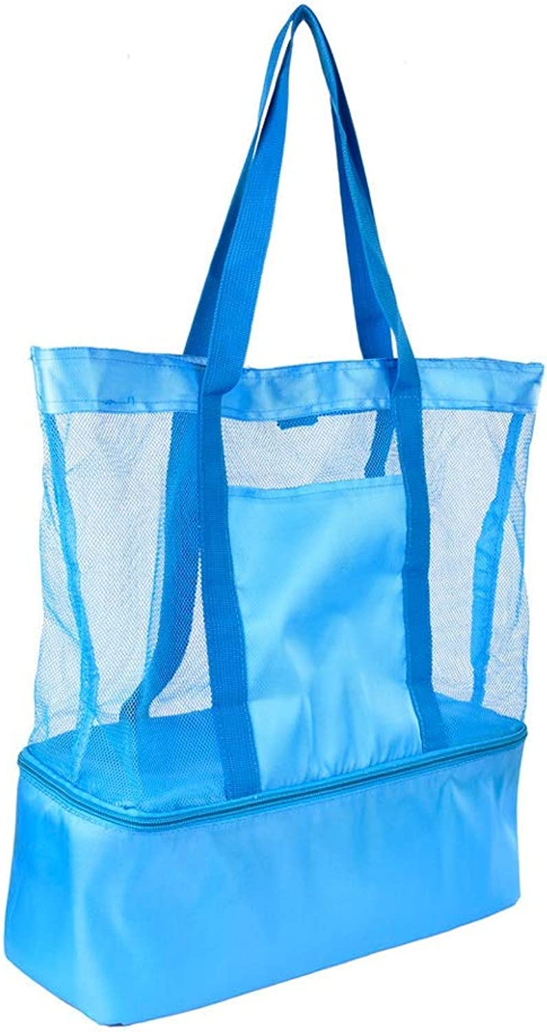 Outdoor Double Layer Camping Lunch Bags Food Keeping Warm and Cold Picnic Bags Portable Mesh Storage Bags Picnic Baskets (color   blueee, Size   14.56  5.9  16.53inchs)