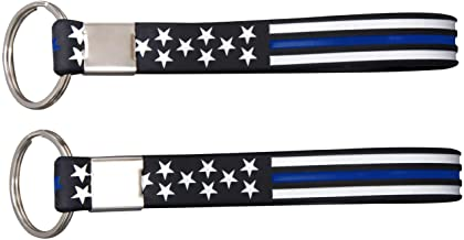 Sainstone Thin Blue Line American Flag Police Keychains - Blue Lives Matter Silicone Rubber Key Rings Set - Support Law Enforcement for Policeman's Prayer Gifts for Police Officers Cops
