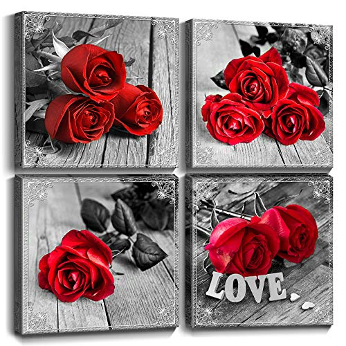Red Rose Bathroom Wall Art Black and White Bedroom Decor for Couples Romantic Flowers Prints Canvas Love Couple Theme Photo Paintings Kitchen Living Room Decorations Wood Grain Picture 8 x 8' 4 Set