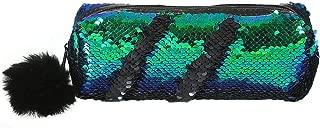 ZHUOTOP Pencil Bag Pen Case Student Reversible Sequins Shiny Makeup Pouch Zipper Bag Office Organizer Green Black