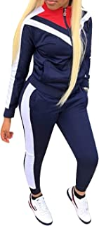 Women Tracksuit Sets Color Block Full Zip Hoodie and Long Pant 2 Piece Outfits