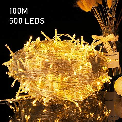 Avoalre Stringa Luci Catena Luminosa 500 LEDs 100M Illuminazione 8 Modalità Interno/Esterno Impermeabile LED Luci Decorative per Atmosfera Romantica Camera Festa Nozze Compleanno Natale, Bianco Caldo