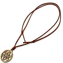シードオブライフ 神聖幾何学模様 木製 ネックレス オリジナル ウッド ペンダント 加護と恵みのシンボル (ブラウン)