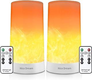 2 bombillas LED con efecto de llama con mando a distancia, recargables, lámpara de mesa con llama parpadeante, luces de noche, lámparas de mesa para el hogar, hotel, decoración de bar (2 unidades)