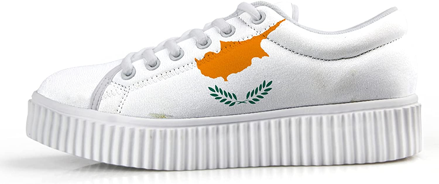 Owaheson Selling rankings Cyprus Flag Wedge Sneakers for Ranking TOP8 Sh Top Low Women Fashion