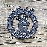 HDOUBR Cortile europeo retrò appeso a parete decorazione testa di cervo ghisa in ferro battuto numero civico Benvenuti nella lista-Tromba
