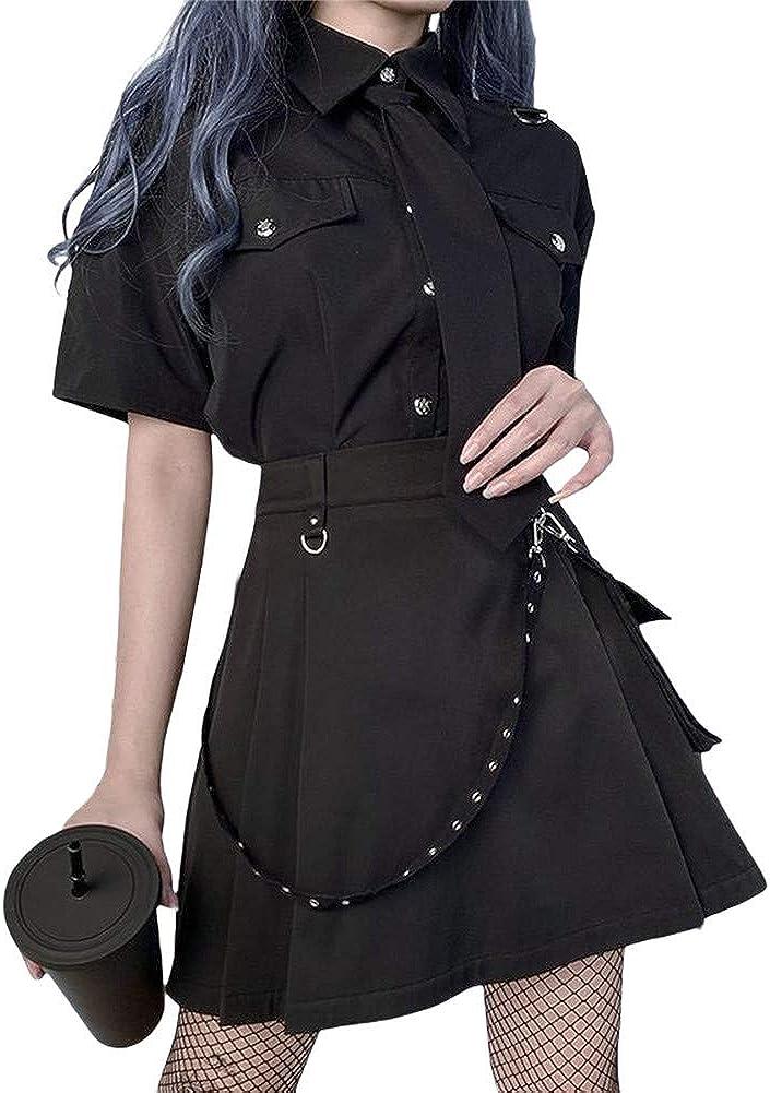 N /C Women's Punk Pleated Skirt High Waist Zipper Belt Street Cool Girl Half Dress